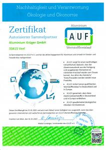AUF Zertifikat 2021
